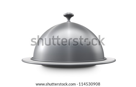 Restaurant steel serving tray isolated on white background.