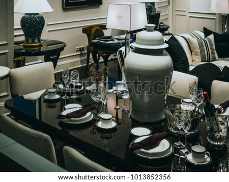 restaurant table, food and dish #1013852356