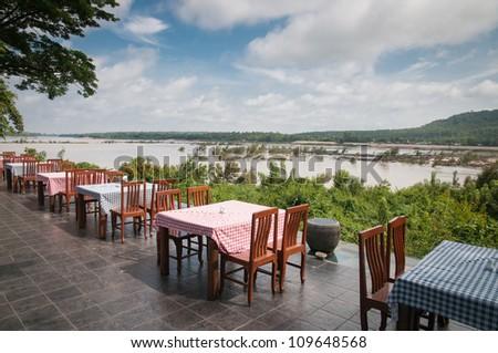 Restaurant table near riverside