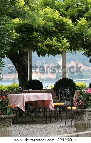 Restaurant table outdoors along the lake como
