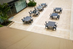 Restaurant tables and chairs in the courtyard