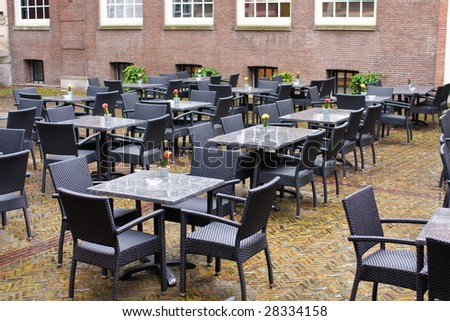 Restaurant tables at the yard,Amsterdam