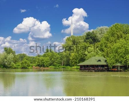 Restaurant water house in lake Ada Safari, Belgrade, Serbia