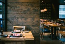 Restaurant with wooden interior