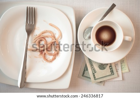 Restaurants check on the table after dinner and cash