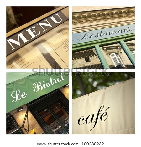 Restaurants collage - stock photo