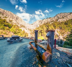 Resting place in the Goynul Cayon. Splendid spring morning in the popular tourist place. Beautiful outdoor scene in Turkey, Asia. Beauty of nature concept background.