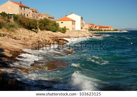 Restless adriatic sea in Postira on Brac island, Croatia