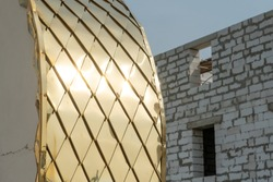Restoration of the old dome of the Church. Gold-plated yellow surface. Repair of the temple of God.