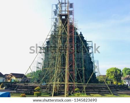 Restoration of the temple in Kalasan temple in Yogyakarta in Indonesia.
