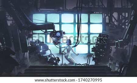 Restore the power to the last one. Female robot repairing itself in the factory, digital art style, illustration painting