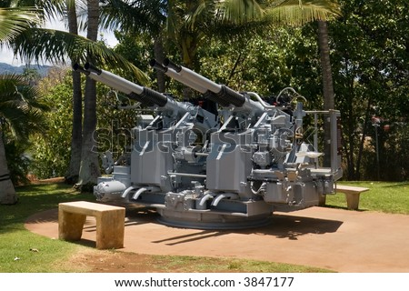 Restored anti-aircraft battery on display at Pearl Harbor, Hawaii.