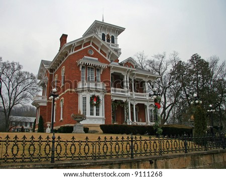Restored Civil War Era Mansion in Galena, Illinois - stock photo
