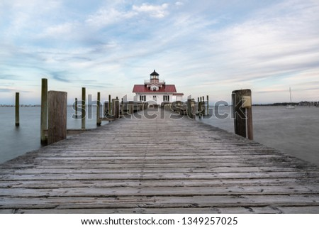 Restored lighthouse building in Manteo North Carolina along the outer banks #1349257025