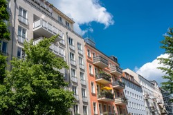 Restored old apartment building in Berlin, Germany Prenzlauer Berg District