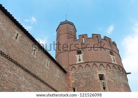 restored old castle tower in Zwolle, Netherlands