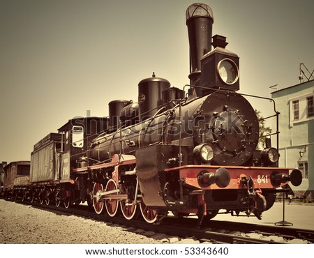 Restored old vintage steam train.