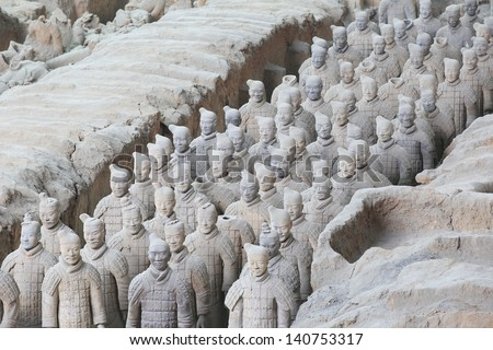 Restored Terra Cotta Warriors in a museum in Xian China