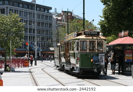Restored Tram in Christchurch's Cathedral Square, New Zealand.