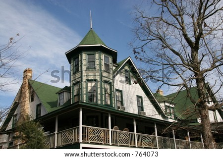 Restored vintage Victorian Mansion, now a hotel in Mentone, Alabama