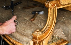 restoring an antique sofa