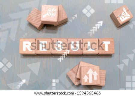 Result business concept on wooden cubes. Results Analysis Performance Success Growth Goal Motivation.