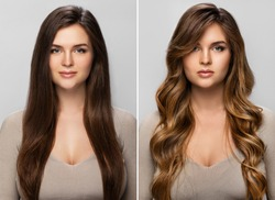 Result of makeover. Young woman happy with her beautiful hair after dyeing and styling in a professional salon.