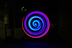 Result of the effect of movement of colored light in circles