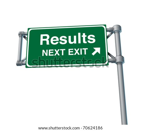 Results Freeway Exit Sign highway street symbol green signage road symbol isolated