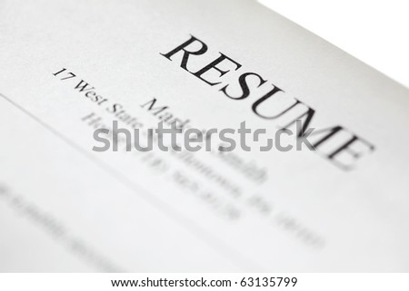 Resume form title page close-up. Shallow DOF.