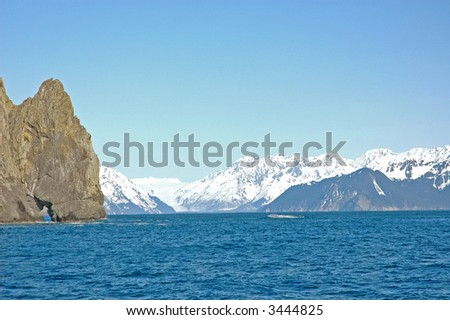 Resurrection Bay, Seward, Alaska seen from the water with mountains in background
