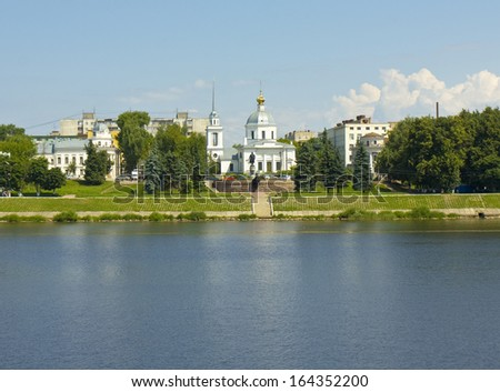 Resurrection of Jesus Christ church on bank of river Volga in town Tver, Russia.