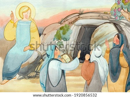 Resurrection of Jesus Christ, Easter,Holy Sepulcher, the angel speaks with the myrrh-bearing women about the resurrection. For Christian church publications, Easter cards, prints, easter banner, bord  Foto stock ©