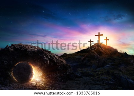Resurrection - Tomb Empty With Crucifixion At Sunrise  #1333765016