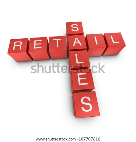 Retail and sales crossword on white background, 3D rendered illustration