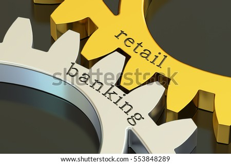 retail banking concept on the gearwheels, 3D rendering