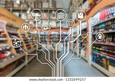 Retail concept marketing channels E-commerce Shopping automation on blurred supermarket background.