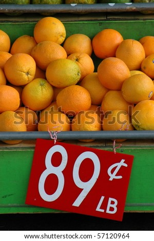 Retail food Image of Fresh Fruit (Oranges) at a Market Stall