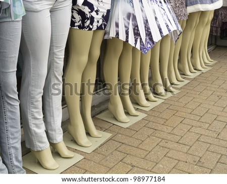 Mannequins displaying the trendy summer fashion clothing at a store