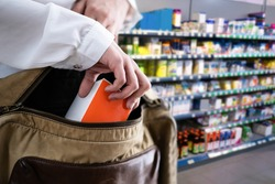 Retail Shoplifting. Woman Stealing In Supermarket. Theft At Shop