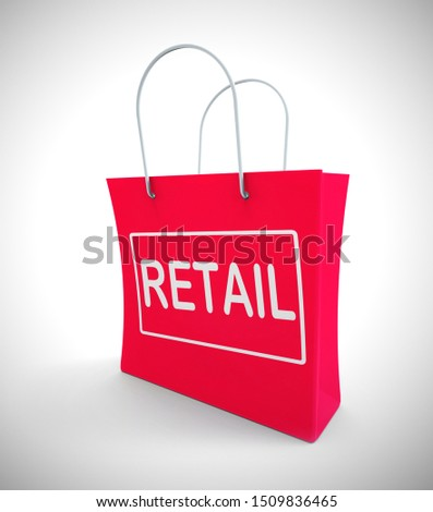 Retail shopping bag meaning merchandise for sale or supply outlet. Distributors and Traders selling commercially - 3d illustration