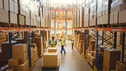 Retail Warehouse full of Shelves with Goods in Cardboard Boxes, Workers Scan and Sort Packages, Move Inventory with Pallet Trucks and Forklifts. Product Distribution Logistics Center. Elevated Shot