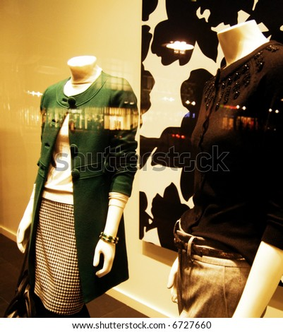Retail window fashion display, stylized and cross processed