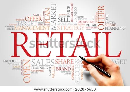 Retail word cloud, business concept