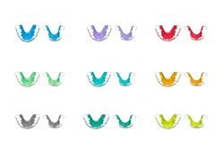 Retainer teeth, Braces,Many colors  Red color, Blue color,Yellow color,  Green color Retainer(top viwe) on a white background