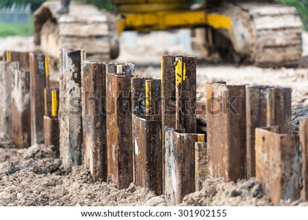 Retaining wall steel sheet pile driving work finish