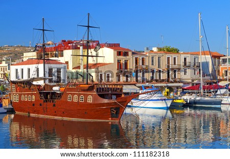 Rethymno city at Crete island in Greece. The old venetian harbor