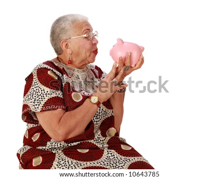 Retired African American lady with piggy bank