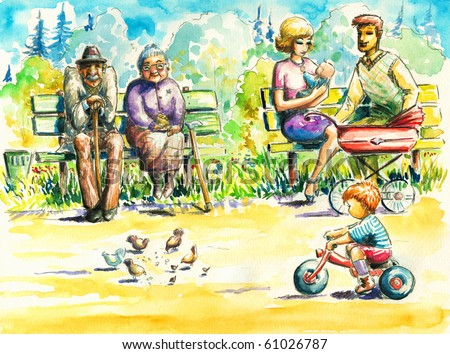 Retired couple sitting together on a bench in park.Grandmother feeding the pigeons. On other bench young family with children.Boy riding a bicycle.I have created it with watercolors.