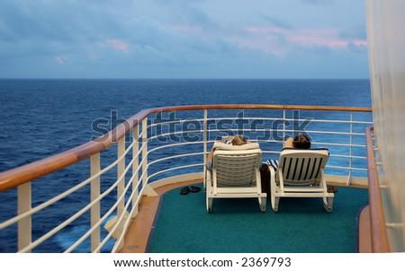 Retired seniors enjoying cruise vacation